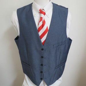2XL Blue Solid Macy's INC Mens Poly #85K Suit Vest